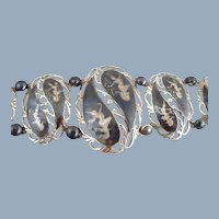 Vintage Unique Siam Sterling Niello Graduated Panel Link Bracelet