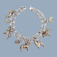 Vintage Sterling Silver Dog Lovers Charm Bracelet