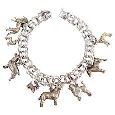 Vintage Sterling Silver Dog Lovers Charm Bracelet