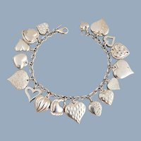 Estate JCM Sterling Silver Puffy Hearts Charm Bracelet