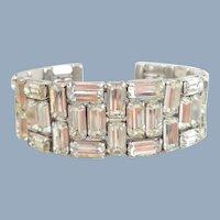 Stunning Vintage WEISS Baguette Rhinestone Memory Cuff Bracelet