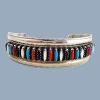 Vintage Native American ZUNI Needlepoint Multi Stone Sterling Silver Cuff Bracelet