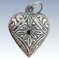 Vintage Sterling Silver Repousse Red Stone  Puffy Heart Charm