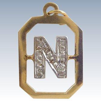 """Estate 14K Gold & Diamonds Letter """"N"""" Charm or Pendant"""