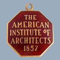 Early 14K Gold American Institute of Architects Charm Pendant Award