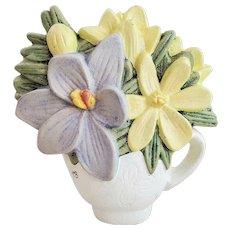 Vintage MARJOLEIN BASTIN Cast Iron Floral Bouquet Teacup Door Stop