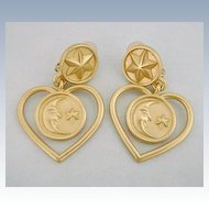 Vintage ANNE KLEIN Celestial Moon & Stars Earrings