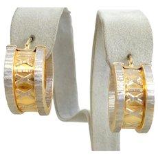 Estate Italian 14K Gold Roman Numeral Hoop Earrings