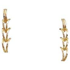Estate 14k Gold Four Tier Half Hoop Earrings