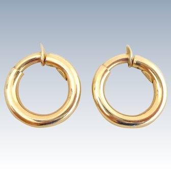 Estate 14k Italian Yellow Gold Hoop Clip On Earrings