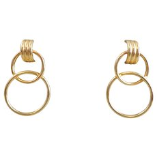 Estate 14K Gold Double Circles Earrings