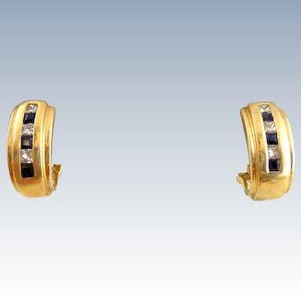 Estate 14k Gold Sapphire & Diamond J-Hoop Omega Back Earrings