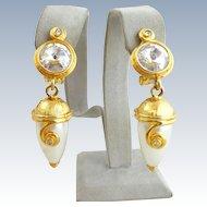 Vintage BIJOUX DESIGNS New York Headlight Faux Pearl Earrings