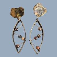 Estate Hand Crafted Studio Brass & Jasper Earrings