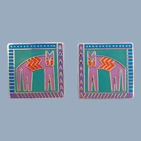 """Vintage LAUREL BURCH """"Hieroglyphic Cat"""" Enamel Earrings"""