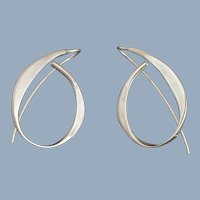 ED LEVIN Sterling Silver Modernist Allegro J Hoop Earrings