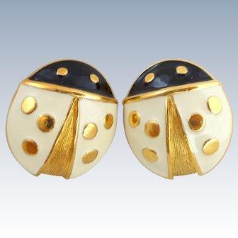 Vintage X-Large Enamel Ladybug Earrings