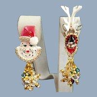 Festive LUNCH AT THE RITZ Santa & Reindeer Earrings
