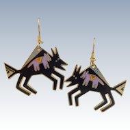 Vintage LAUREL BURCH Southwestern Enamel 'Bison' Earrings