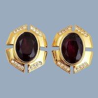 Vintage MONET Faceted Red Crystal & Rhinestone Earrings