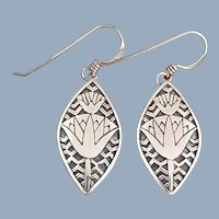 Vintage PRECIV Sterling Silver Lotus Tribal Dangling Earrings
