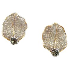 Vintage NETTIE ROSENSTEIN Pave Rhinestone Flower Petal Earrings