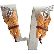 Vintage Six Shooter Gun Pistol & Holster Cowboy Clip Earrings