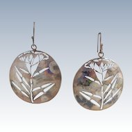 "Vintage Sterling Silver Artisan Signed ""Goldenseal"" Earrings"