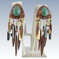 Vintage TABRA Scarab Egyptian Tribal Copper Turquoise Earrings