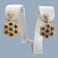 Vintage Gerard YOSCA Rhinestone Flower Earrings