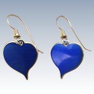 """Vintage LAUREL BURCH """"Yoel"""" Blue Enamel Heart Drop Earrings"""
