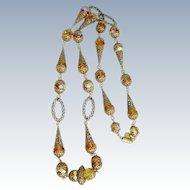 Vintage Exquisite ACCESSOCRAFT Crystal & Filigree Cones Necklace
