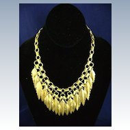 Vintage CAROL DAUPLAISE Modernist Feather Bib Necklace w/tag