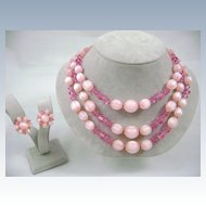 Vintage LISNER Unique Pink Crystal and Moonglow Bead Necklace Earring Demi