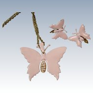 MIRIAM HASKELL Pink Enamel Butterfly Necklace & Earrings Demi