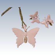 MIRIAM HASKELL Pink Enamel Butterfly Necklace & Earrings Demi