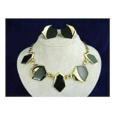 1980's MONET Art  Deco Style Black Enamel Necklace & Earrings