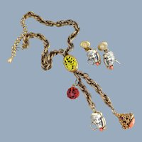 Vintage SELRO Noh Devil Mask Necklace with Charms & Earrings
