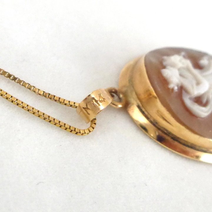 Estate 14k carved shell cameo pendant on 10k gold italian box chain estate 14k carved shell cameo pendant on 10k gold italian box chain aloadofball Image collections