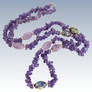 Vintage Carved Purple Jade Amethyst Polished Stones and Cloisonne Bead Necklace