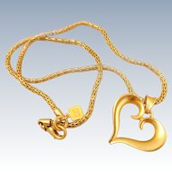 Vintage ANNE KLEIN Scrolled Heart Pendant Necklace