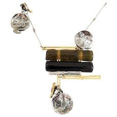 ANNE MARIE CHAGNON Sculptured Glass Metals Necklace