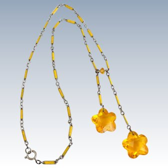 Vintage Yellow Czech Glass & Enamel Link Negligee Necklace