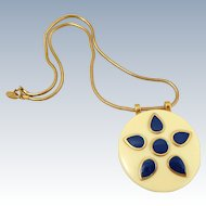 Vintage GIVENCHY 1976 Mod Lucite Enamel Flower Necklace