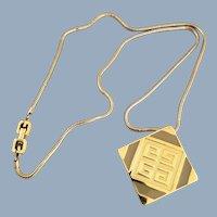 Vintage 1977 GIVENCHY Enamel Greek Key Logo Necklace