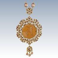 Vintage GOLDETTE Cupid Intaglio Cameo Necklace