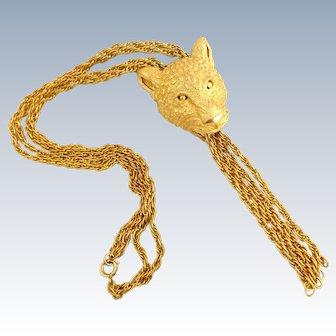 Rare Vintage TRIFARI Panther Cat Head Tassels Necklace