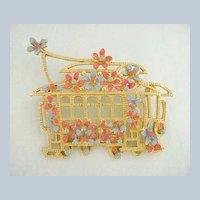 Vintage LISNER Trolley Streetcar with Enamel Flowers Pin