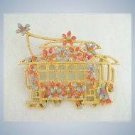 Vintage LISNER Trolley Streetcar with Enamel Flowers Pin