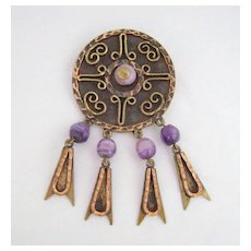 Vintage Mid-Century MAYA MEXICO Copper & Brass Purple Bead Pin Pendant